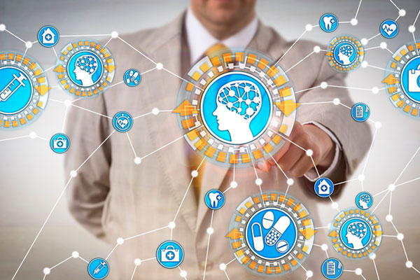 AI Applications in Healthcare Industry. Health Care IT administrator activating machine intelligence via internet of things. Tech concept for artificial intelligence, computer science, machine learning, robotics research.