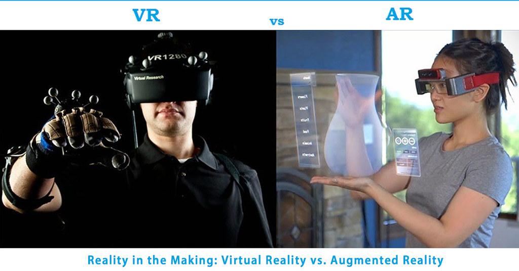 Virtual Reality vs Augmented Reality. VR vs AR.