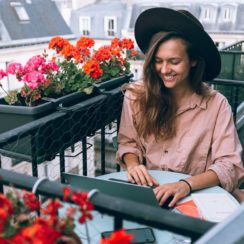 Beautiful Smiling Woman Using Laptop Computer, Digital Worker, Freelancer, Remote Work, Remote Working, Work From Anywhere, Work From Home, Working Young Woman.