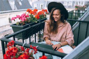 Beautiful Smiling Woman Using Laptop Computer, Digital Worker, Freelancer, Remote Work, Remote Working, Work From Anywhere, Work From Home, Working Young Woman.