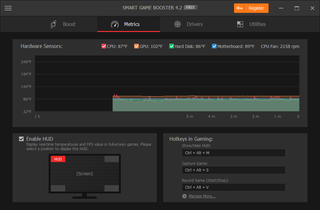 Smart Game Booster Metrics - Monitor CPU & GPU Temperature When Gaming in Real Time.