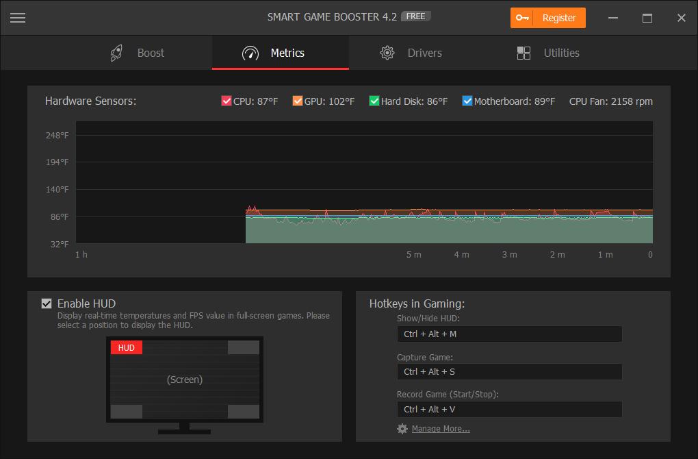 Smart Game Booster Metrics - Monitor CPU & GPU Temperature When Gaming in Real Time.