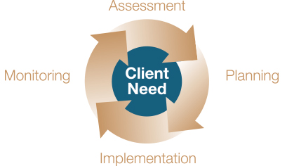Client Need: Assessment, Planning, Implementation, Monitoring.
