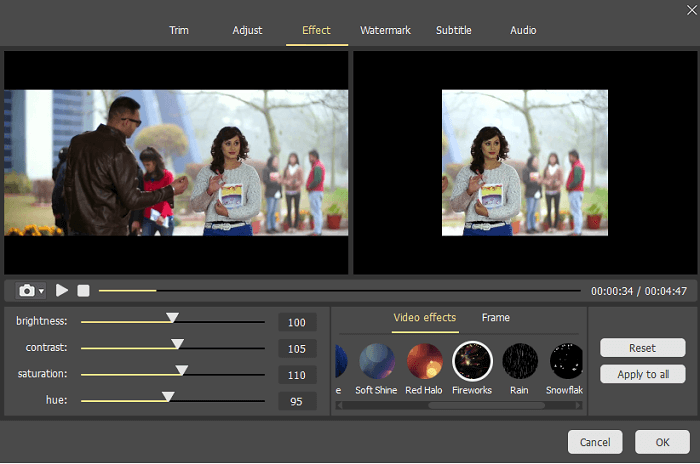 Joyoshare Media Cutter Video Editing Tools: Trim Video, Adjust, Video Effects, Add Watermark, Subtitle, Audio.