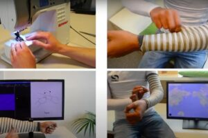 SmartSleeve is a deformable textile sensor, which can sense both surface gestures and deformation gestures in real-time.