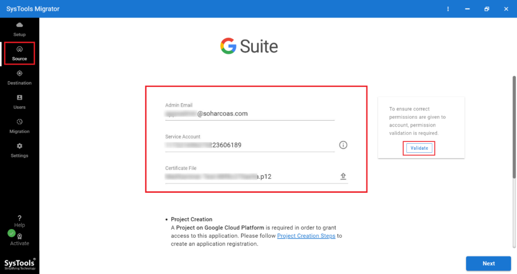 SysTools G Drive to OneDrive Migration: Validate G Suite.