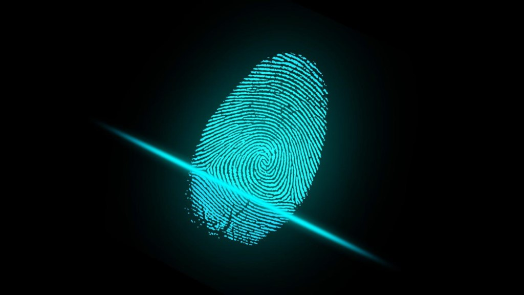 Fingerprint Security, Digital Identity, Data Security in Business, Biometrics, Technology.