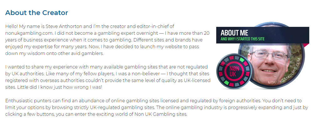 Gambling expert Steve Anthorton is the creator and editor-in-chief of nonukgambling.com website.