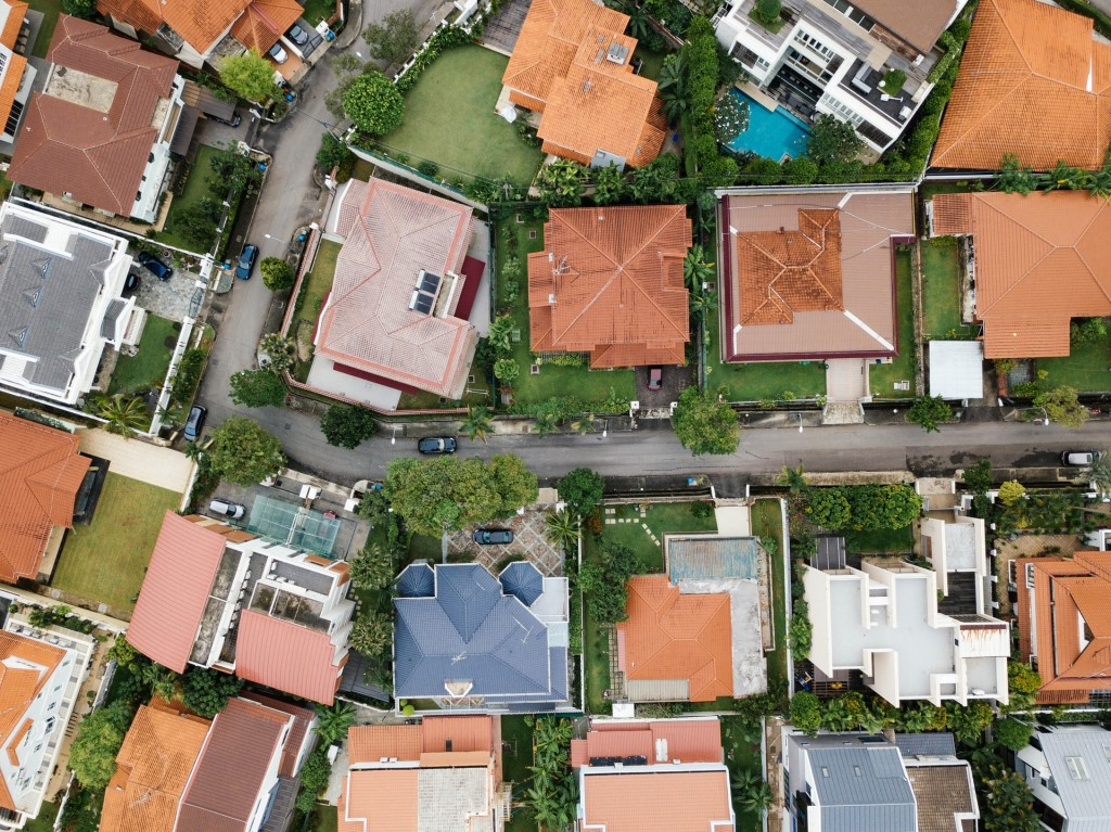 Aerial View of Houses During Daytime Photo, Drone View of Houses.