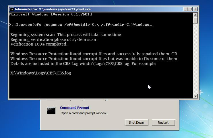 Command prompt windows - sfc scannow command - System Scan - Windows Resource Protection.