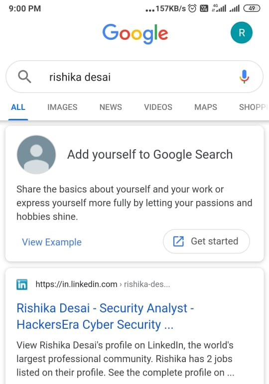 Add yourself of Google Search