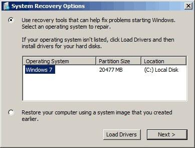 System Recovery Options - Fix problems starting Windows.