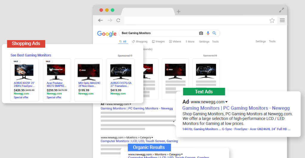 Google Shopping Ads and Google Text Ads.