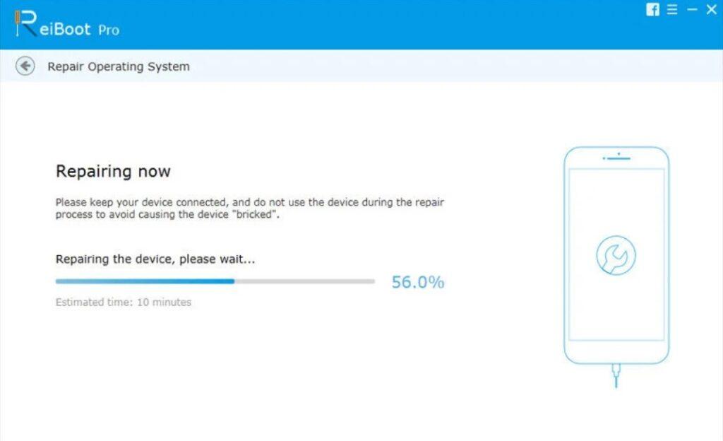 ReiBoot repairing your iOS device wait for repairing
