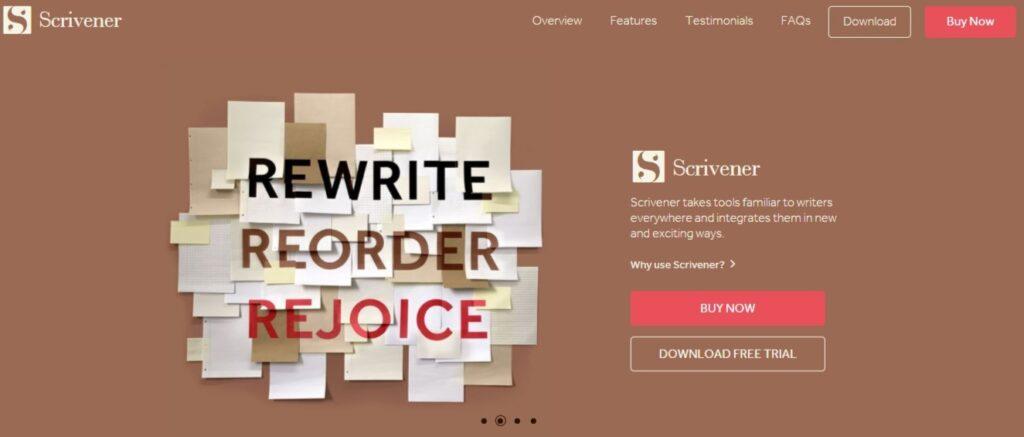 Scrivener Writing Software.