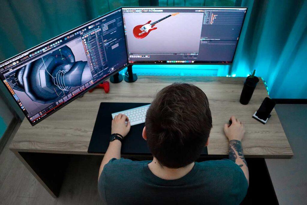 3D Artist Using 3D Modeling Software.