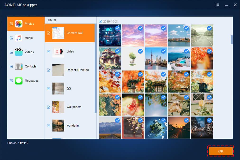 AOMEI MBackupper - Custom Backup iPhone Data - Backup Important Photos.