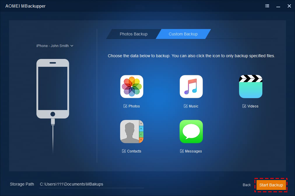 AOMEI MBackupper - Custom Backup iPhone Data - Create iPhone Backup - Start Backup to Save iPhone Data.