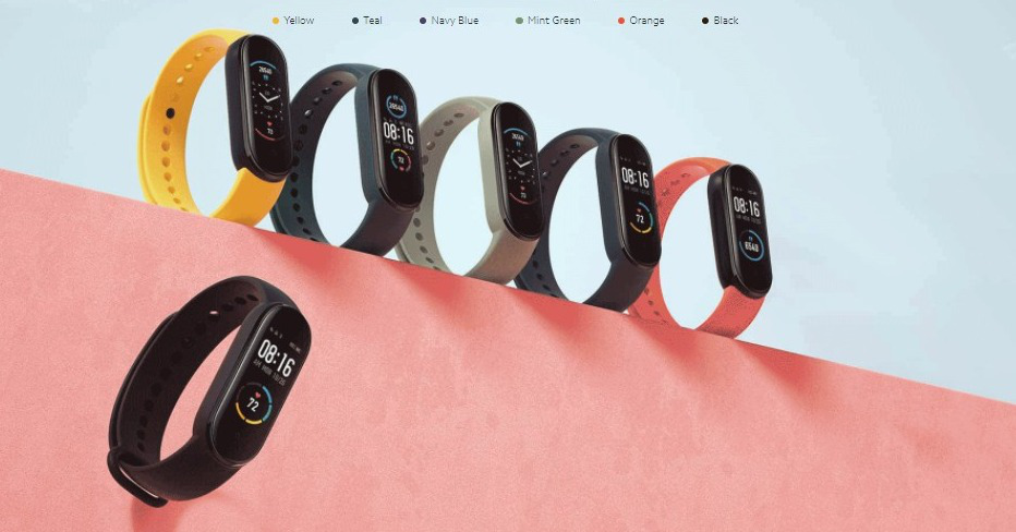 Mi Smart Fitness Band 5 Colors: Yellow, Teal, Navy Blue, Mint Green, Orange and Black.