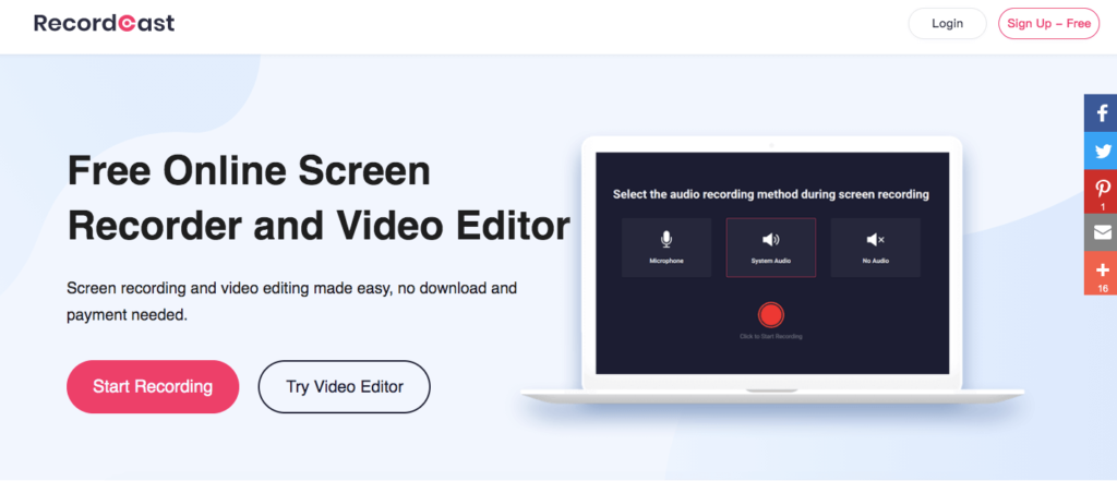 RecordCast: Free Online Screen Recorder and Video Editor. Screen recording and video editing made easy, no download and payment needed. Start Recording.
