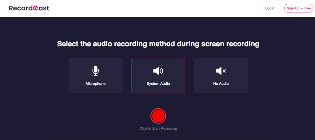 RecordCast screen recording.