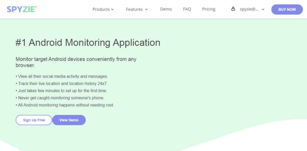 Spyzie Android Monitoring Application.