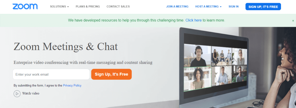 Zoom Meetings: Video conferencing with real-time messaging and content sharing.