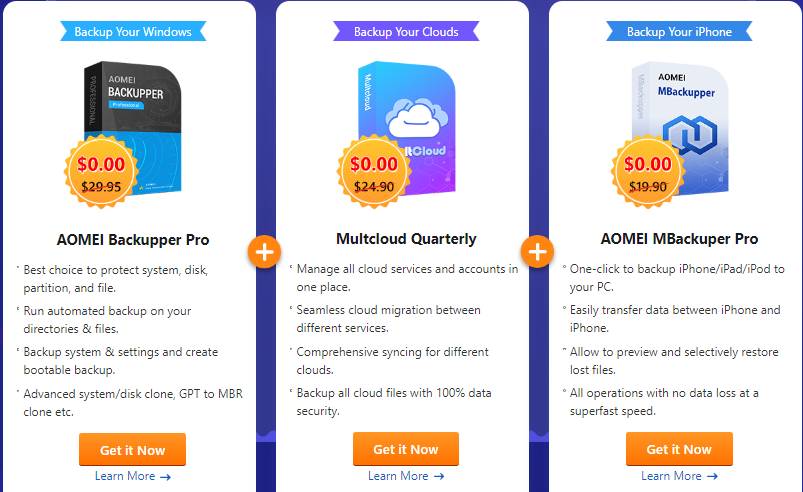 Get AOMEI Backupper Pro, MultCloud Quarterly and AOMEI MBackupper Pro for FREE.