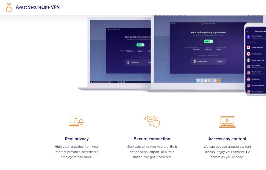 Avast SecureLine VPN: Encrypts your Internet connection at the click of a button for true online privacy.