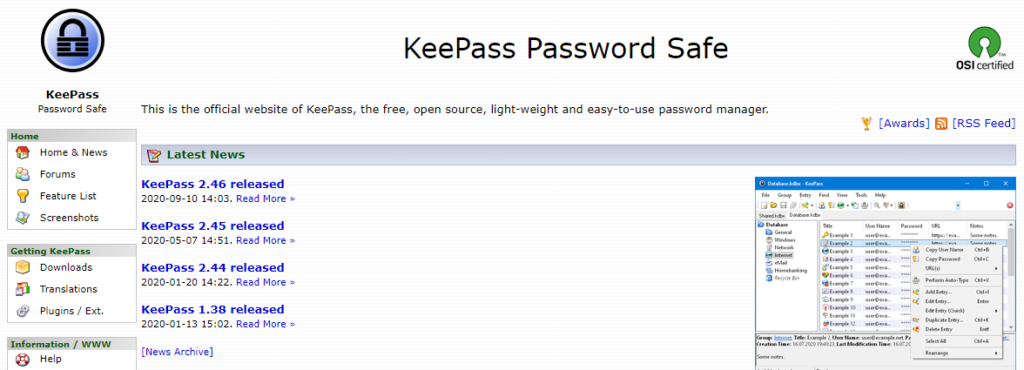 KeePass Password Safe: Free and Open-Source Password Manager.