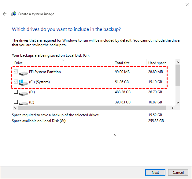 Backup Windows, Create a system image: Which drives do you want to include in the backup? The drives that are required for Windows to run will be included by default. You cannot include the drive that you are saving the backup to.