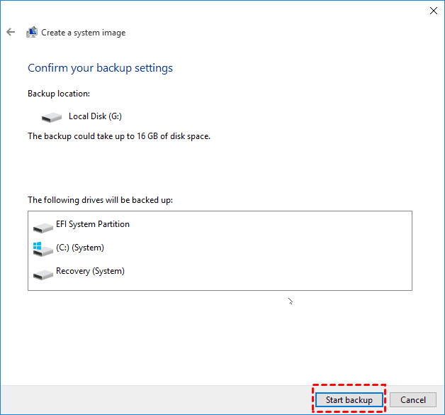 Create a system image: Confirm your Windows 10 backup settings and Start backup.