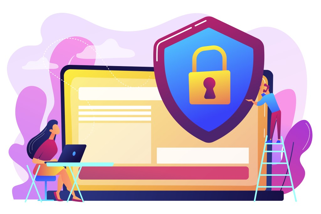 Protecting data on laptop. data privacy, information privacy regulation, personal data protection, web proxy server.