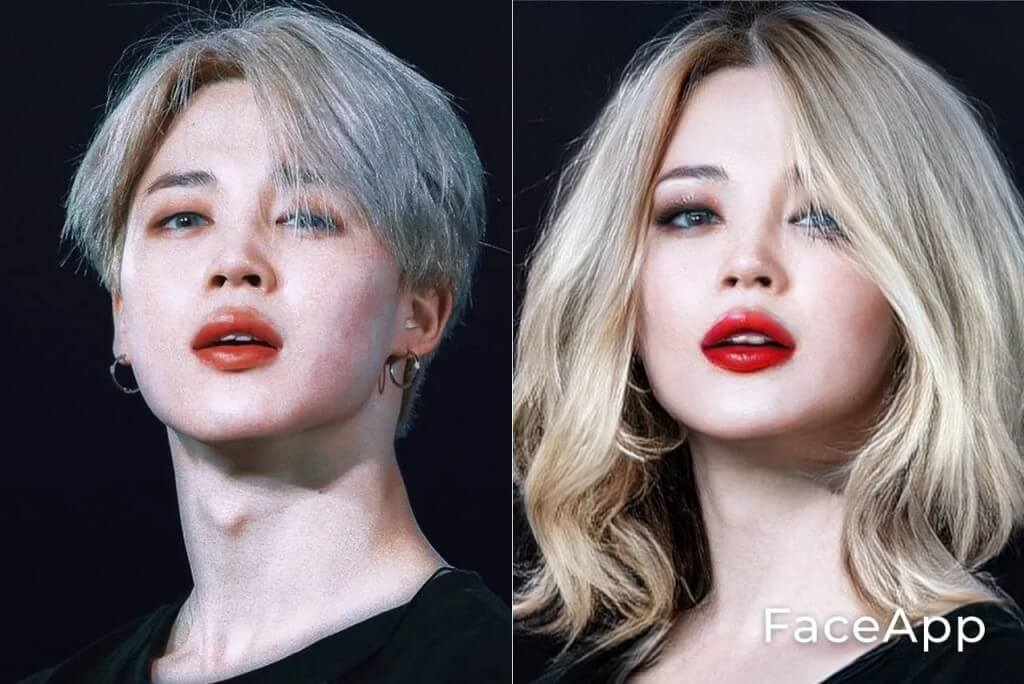 Jimin gender swap with FaceApp.