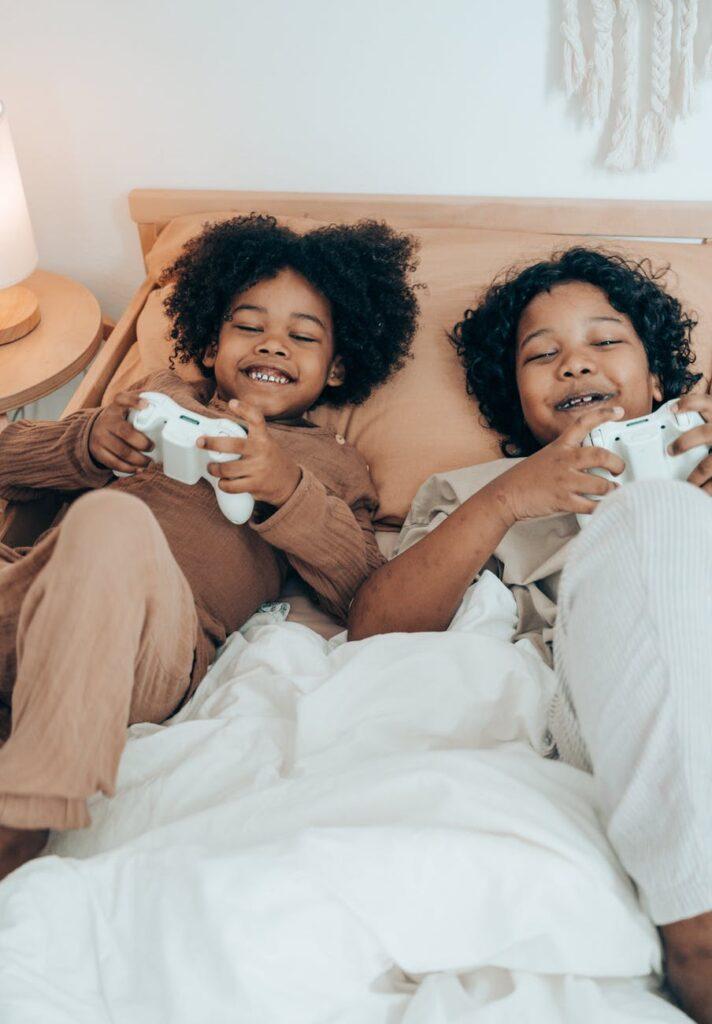 Kids playing video games.