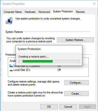 Windows System Protection: Creating a restore point...