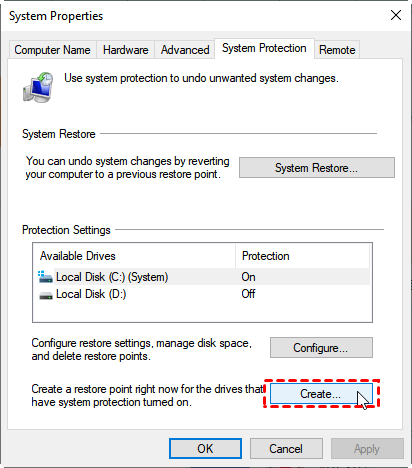 Windows System Protection - System Restore - Create a restore point.