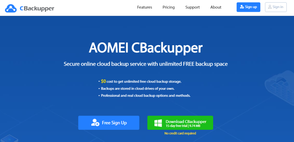 AOMEI CBackupper: Secure online cloud backup service with unlimited FREE backup space.
