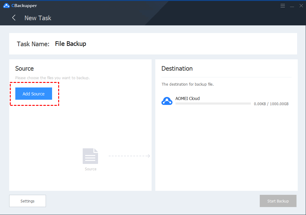 CBackupper File Backup: Add Source. Please choose the files you want to backup to AOMEI Cloud.