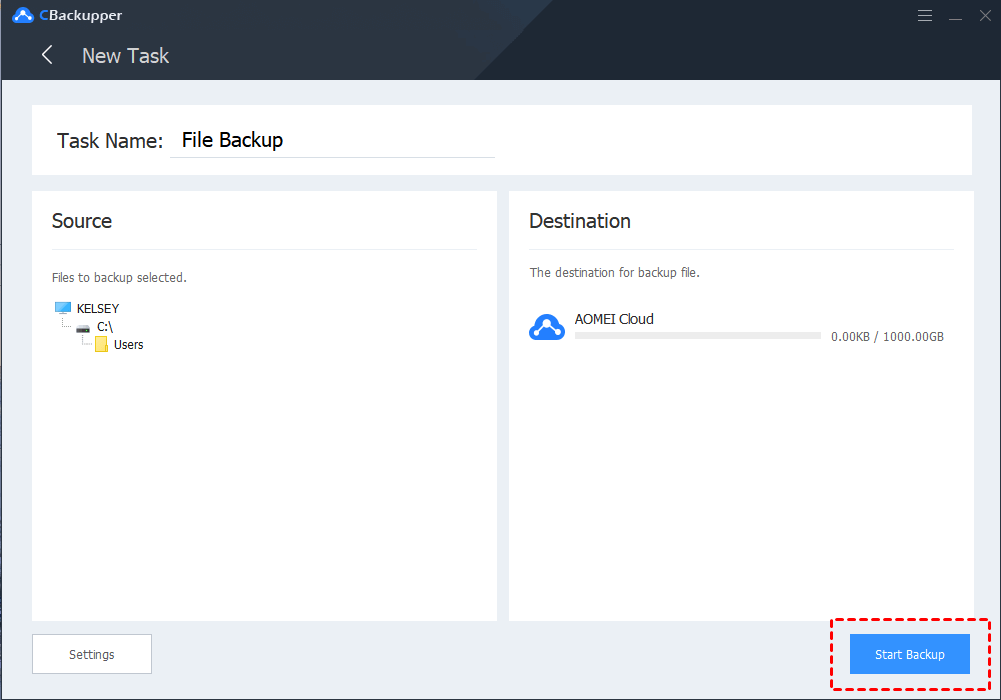 CBackupper File Backup: Select files to backup and click Start Backup to backup your selected files to AOMEI Cloud.