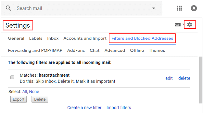Gmail Settings: Filters and Blocked Addresses.