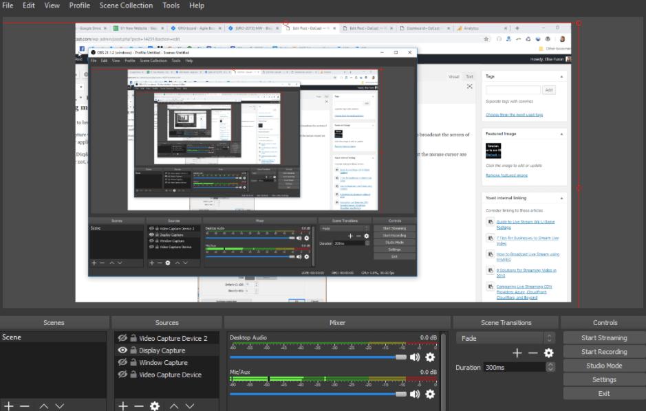 OBS Studio computer screen capture, display capture, window capture.