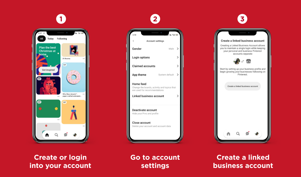 Pinterest Business Account: Create a linked business account.
