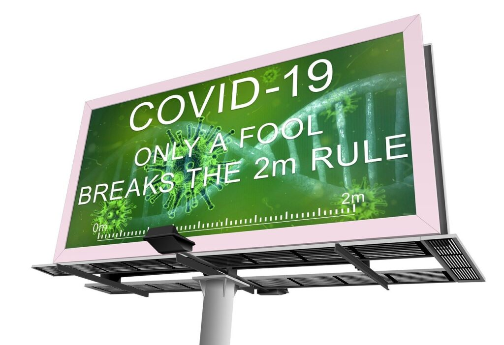 Outdoor LED Display, Social Distancing, Covid-19.