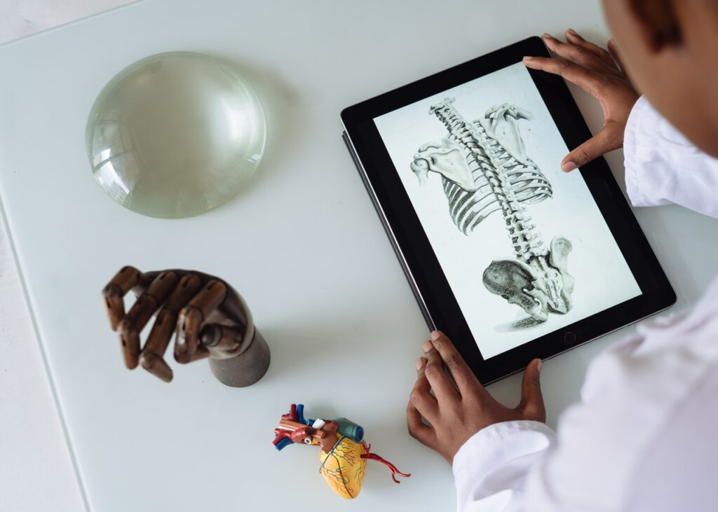 African American scientist studying anatomy with tablet.
