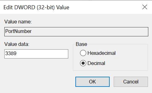 RDP Port Number Edit DWORD Value