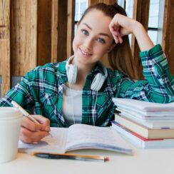 This photo is about young girl student, books, study, homework