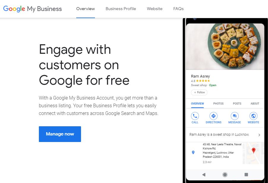 Google My Business Overview: Engage with customers on Google for free. With a Google My Business Account, you get more than a business listing. Your free Business Profile lets you easily connect with customers across Google Search and Maps.