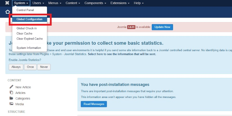 Joomla Security Best Practices: Go to System - Global Configuration.