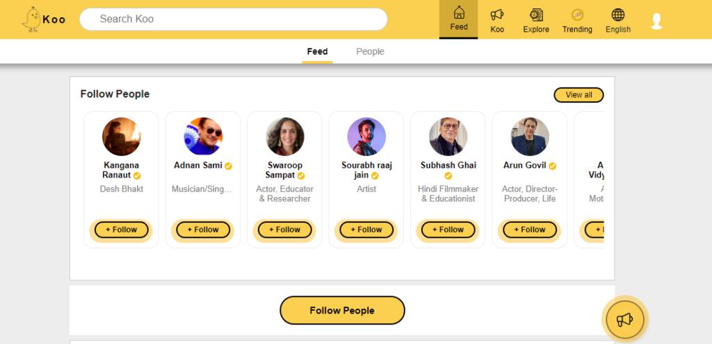 Koo App Feed - Follow People